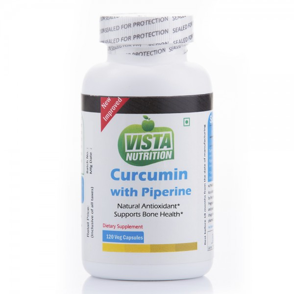 Vista Nutrition Curcumin With Piperine 120 Capsules