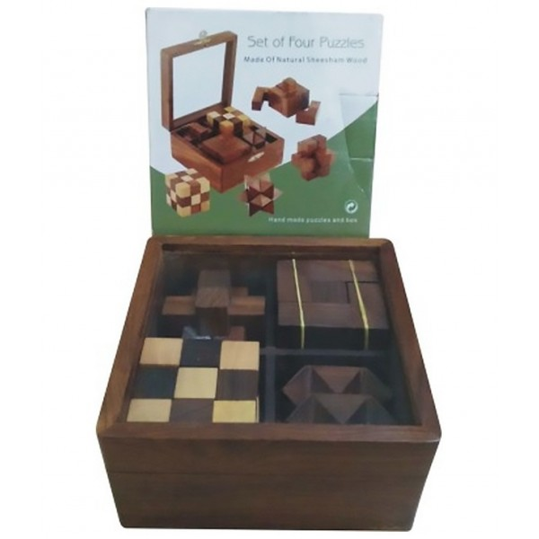 Chopra Chess Wasan Wooden Cube Set of Four Puzzles (4 Pieces)